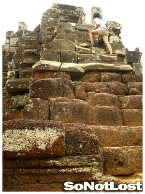 Cambodian Kid Climbing Phimeanakas - Click to View Hi-Res Image