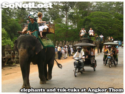 elephants and tuk-tuks at Angkor Thom