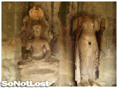 statues inside Angkor Wat